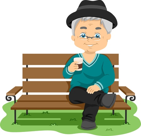 grandfather: Illustration Featuring an Elderly Man Enjoying His Drink Stock Photo