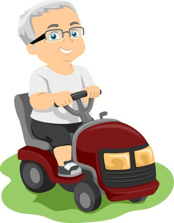 Illustration Featuring an Elderly Man Riding a Lawn Mower Stock Photo