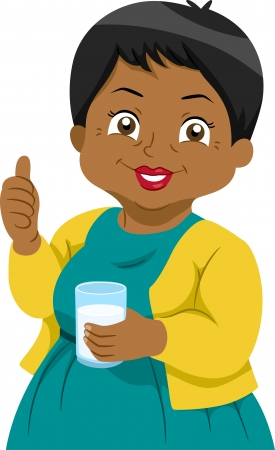 woman drinking milk: Illustration Featuring an Elderly Woman Holding a Glass of Milk Stock Photo