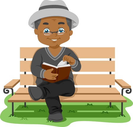 old people reading: Illustration Featuring an Elderly Man Reading a Book