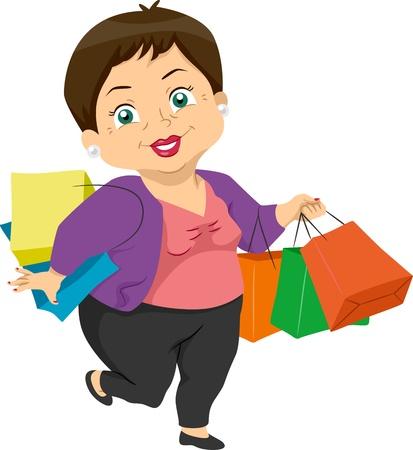 compras compulsivas: Ilustración que ofrece una cesta de Mujer Mayor