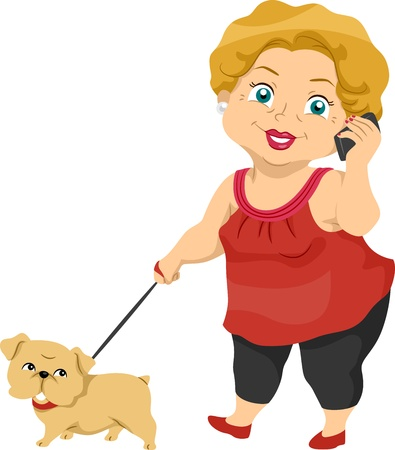 Illustration Featuring an Elderly Woman Taking Her Dog for a Walk illustration