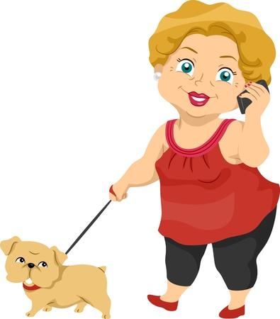 abuela: Ilustración que ofrece una anciana llevando a su perro a dar un paseo