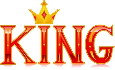 corona rey: Ilustración Texto Con la palabra rey Foto de archivo