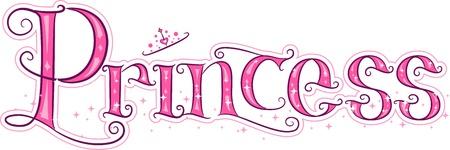 princess: Illustrazione del testo Con la principessa Word Archivio Fotografico