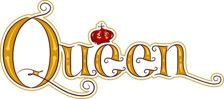 corona real: Ilustración de texto Con la Reina Palabra Foto de archivo