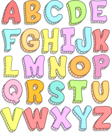 alphabet letter a: Doodle Illustration Featuring the Capital Letters of the Alphabet