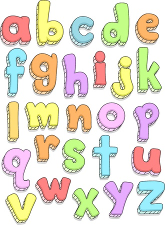 letters alphabet: Doodle Illustration Featuring the Small Letters of the Alphabet