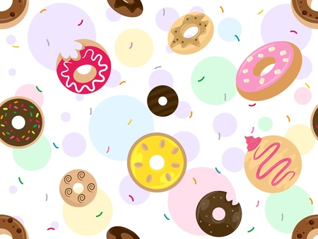 Seamless Background Illustration Featuring Doughnuts illustration