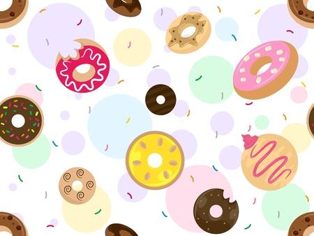 Seamless Background Illustration Featuring Doughnuts Stock Illustration - 14493511