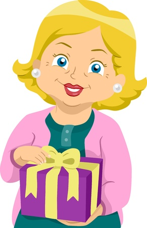 Illustration of a Grandmother Holding a Wrapped Present illustration