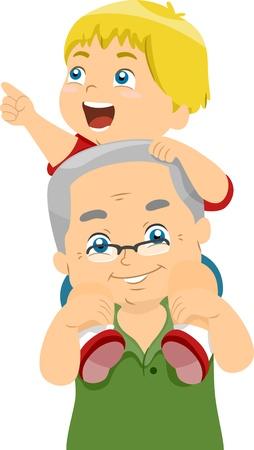 Ilustración de un abuelo Llevar su nieto en el hombro