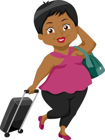 Illustration of an Elderly Female Traveler Dragging a Luggage Attached to a Strolley illustration