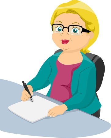 Illustration of a Businesslike Elderly Woman Writing on a Piece of Paper illustration
