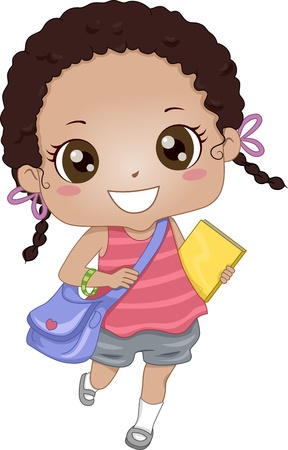 backpacks: Illustration of an African-American Schoolgirl on Her Way to School