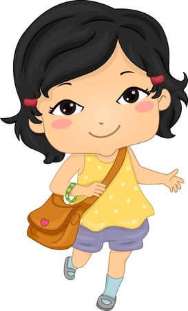 young schoolgirl: Illustration of an Asian Girl on Her Way to School