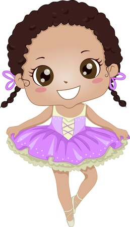 ballet child: Illustration of a Young African-American Ballerina Wearing a Tutu