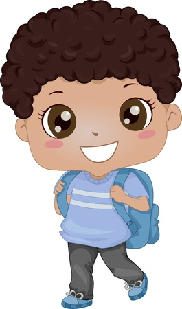 Illustration of an African-American Schoolboy Carrying a Backpack illustration