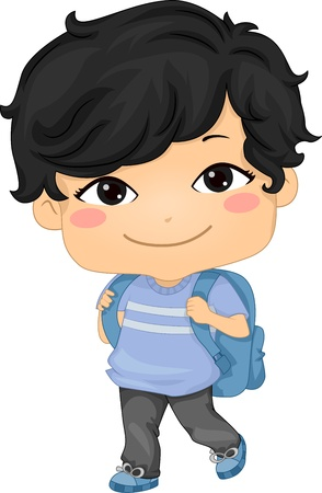 Illustration of an Asian Schoolboy Carrying a Backpack illustration