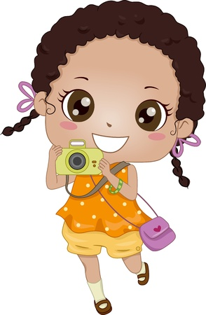 photo camera: Illustration of a Young African-American Girl Holding a Camera