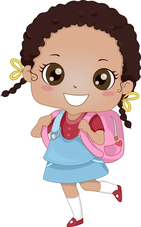 Illustration of an African-American Schoolgirl Carrying a Backpack illustration