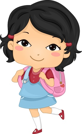 Illustration of an Asian Schoolgirl Carrying a Backpack illustration