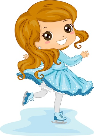 figure skating: Illustration of a Young Female Ice Skater in an Skating Rink