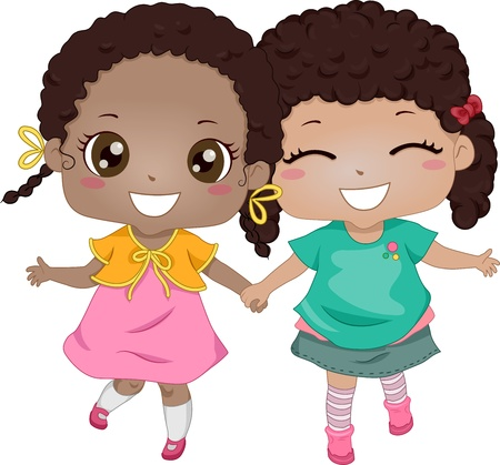 girls holding hands: Illustration of African-American Girls Holding Hands While Walking