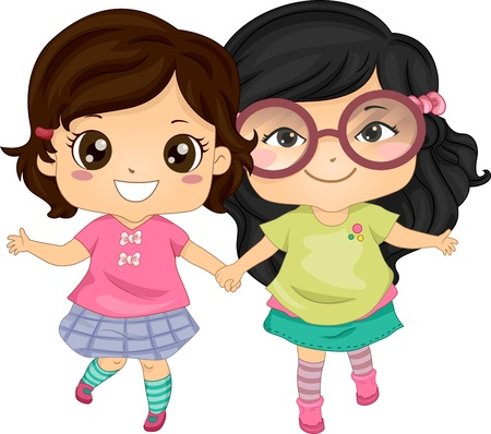 holding hands while walking: Illustration of Asian Girls Holding Hands While Walking