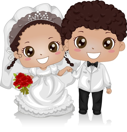 Illustration of a Young African-American Couple Wearing Wedding Costumes illustration