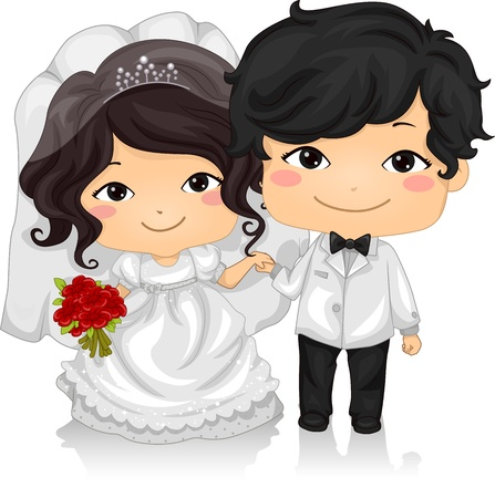 asian wedding couple: Illustration of a Young Asian Couple Wearing Wedding Costumes Stock Photo