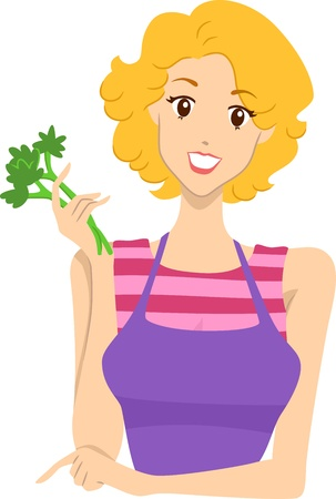 Header Illustration Featuring a Woman Holding Veggies Stock Illustration - 14797006