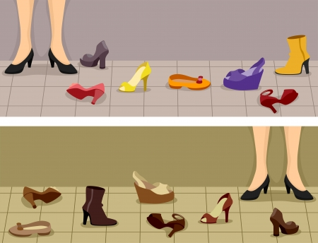wedge: Header Illustration Featuring Different Footwear