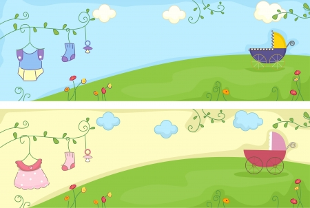 Header Illustration Featuring Baby-related Items illustration