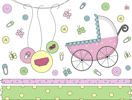 Border Illustration Featuring Baby-related Items illustration