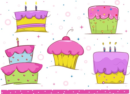 Border Illustration Featuring Birthday Cakes illustration