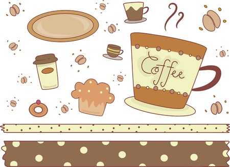 Border Illustration Featuring Coffee Shop - Related Items illustration