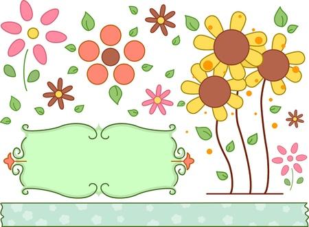 margen: Border Ilustración con un tema floral Foto de archivo