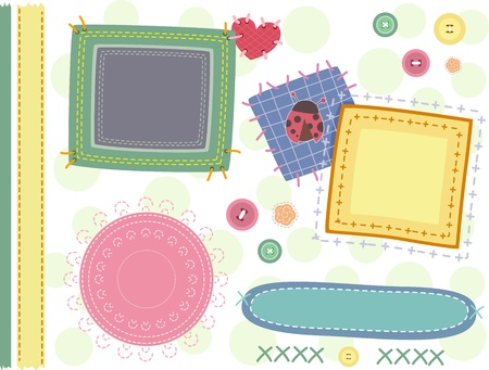 patches: Border Illustration Featuring Patches and Stitches Stock Photo