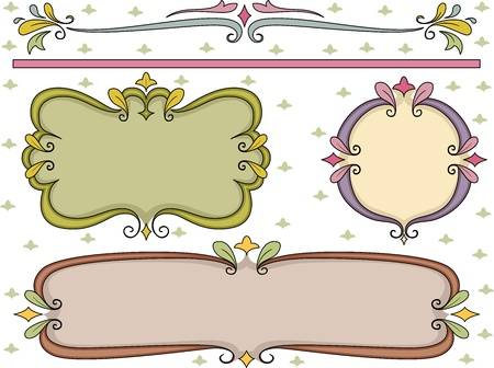 scrapbook frames: Border Illustration Featuring Swirly Frames Stock Photo