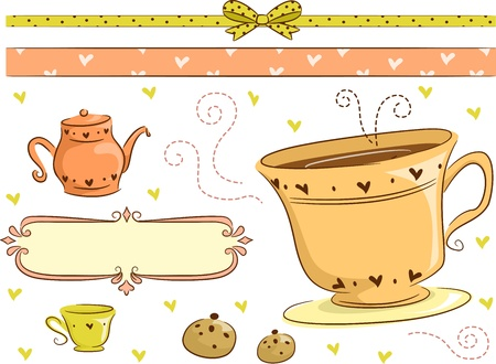 Border Illustration Featuring Tea Time Related Items illustration