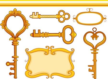 Border Illustration Featuring Vintage Keys Stock Illustration - 14797060