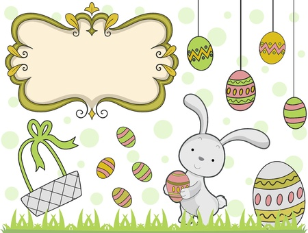 digital scrapbooking: Illustration Featuring Easter Elements Stock Photo