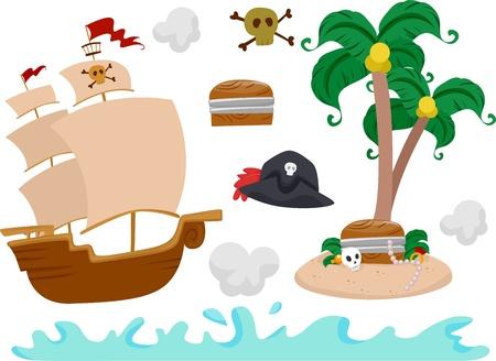 barco pirata: Ilustraci�n con elementos del pirata