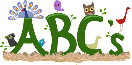 Text Illustration Featuring Birds - ABCs of Birds illustration