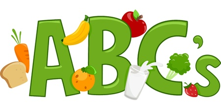 Text Illustration Featuring Healthy Food illustration