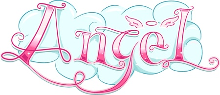 Text Illustration Featuring the Word Angel illustration