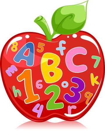 cartoon number: Text Illustration of an Apple Filled with Letters and Numbers Stock Photo
