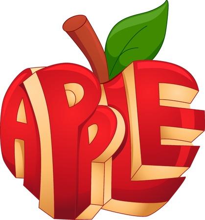 manzana caricatura: Ilustración Texto Con una manzana Tallada