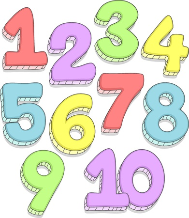 Doodle Illustration Featuring the Numbers 1-10 illustration